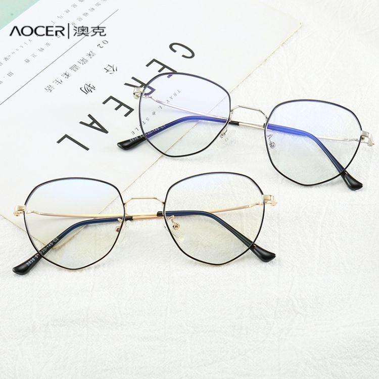 新款防藍光眼鏡架批發 復古圓形近視眼鏡框男女士同款熱賣款5838