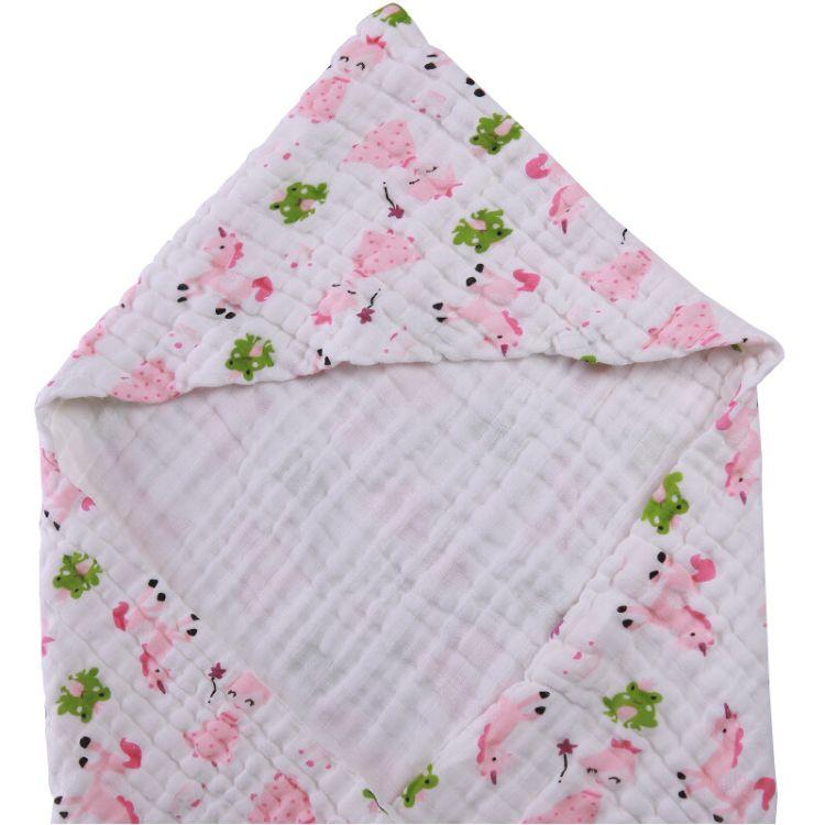婴幼儿带帽浴巾澡巾抱被水洗纱布印花盖毯云毯宝宝抱毯6层105*105