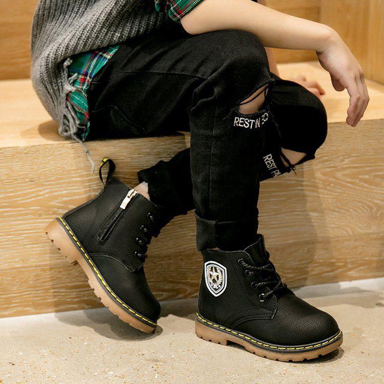 童鞋冬款2018儿童加绒英伦风靴子男童短靴女童马丁靴中筒雪地靴潮
