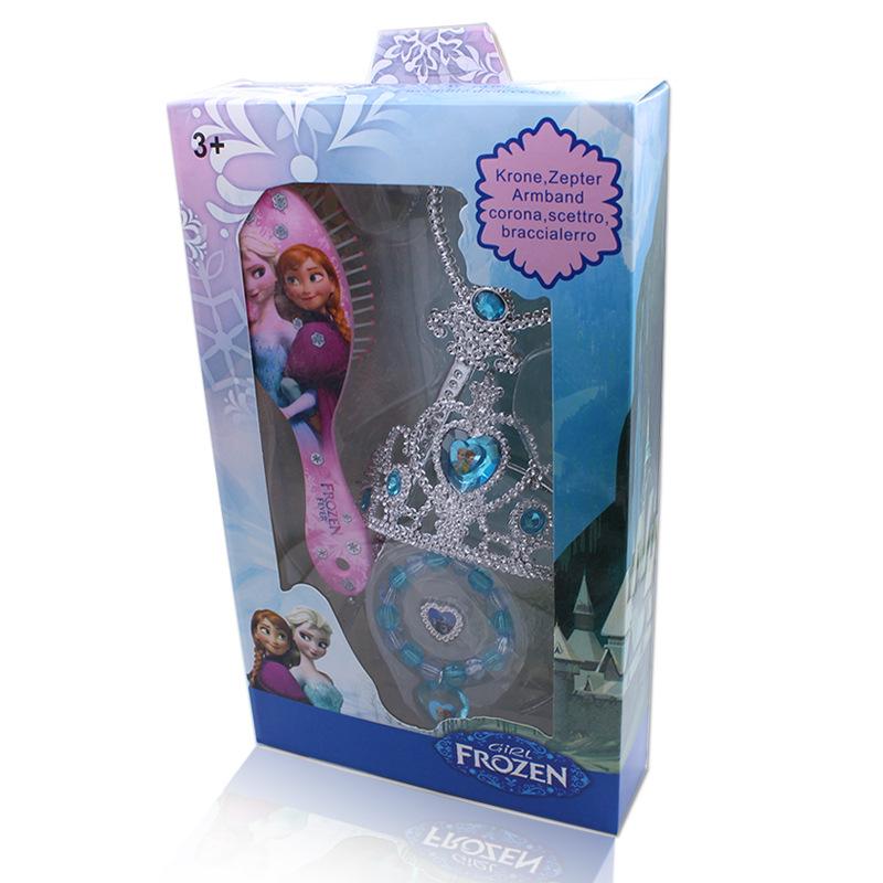 廠價兒童皇冠發梳套裝 冰雪奇緣王冠梳子魔法棒卡通飾品批發