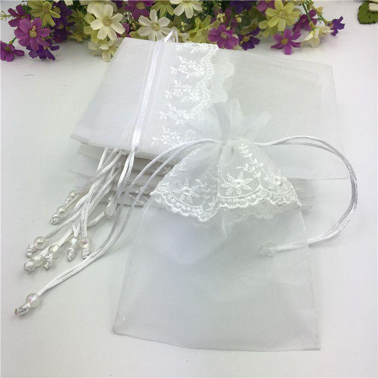 厂家批发 加厚加密 花边欧根纱袋 镶边珍珠纱袋 蕾丝礼品包装袋