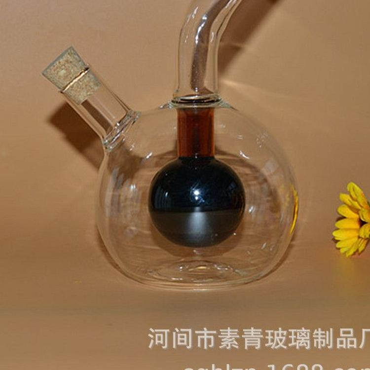 玻璃圆形油壶耐热高硼硅透明健康绿色长壶嘴麻油料酒壶厂家吹制