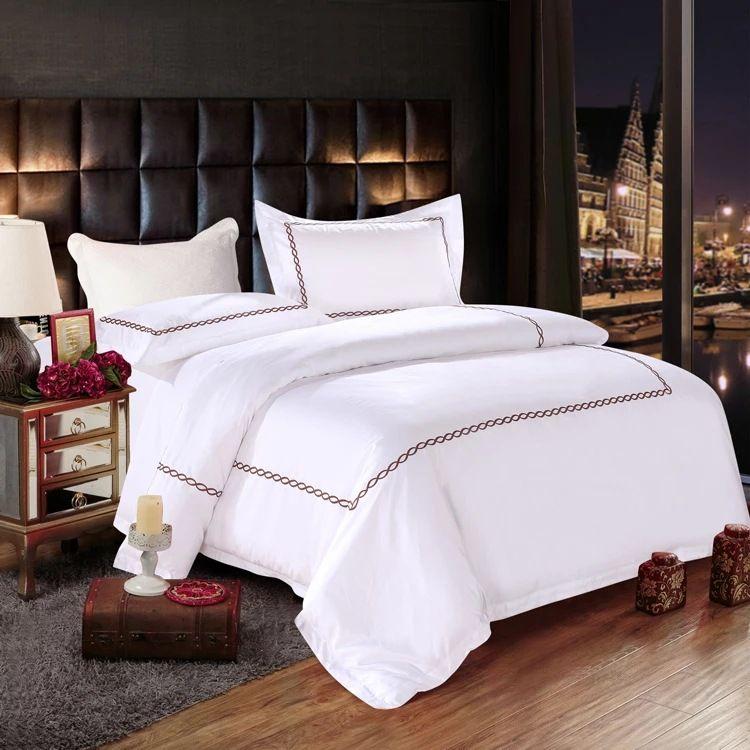 定制五星级酒店布草四件套纯棉白色贡缎床单被套宾馆床上用品套件