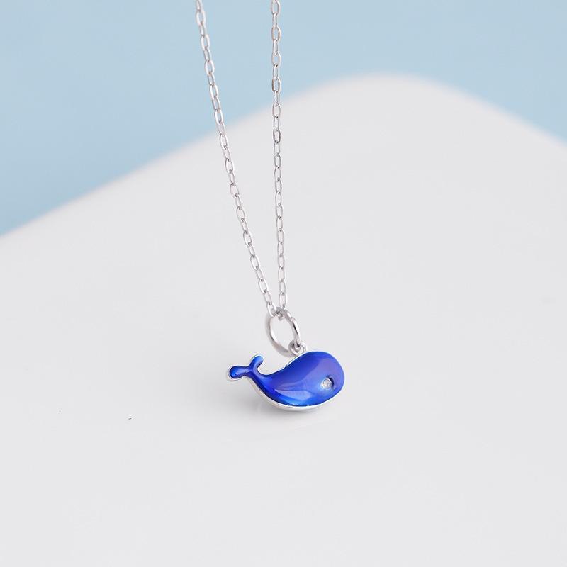 S925纯银卡通蓝色鲸鱼项链 韩国可爱动物吊坠蓝鲸锁骨链 项饰定制