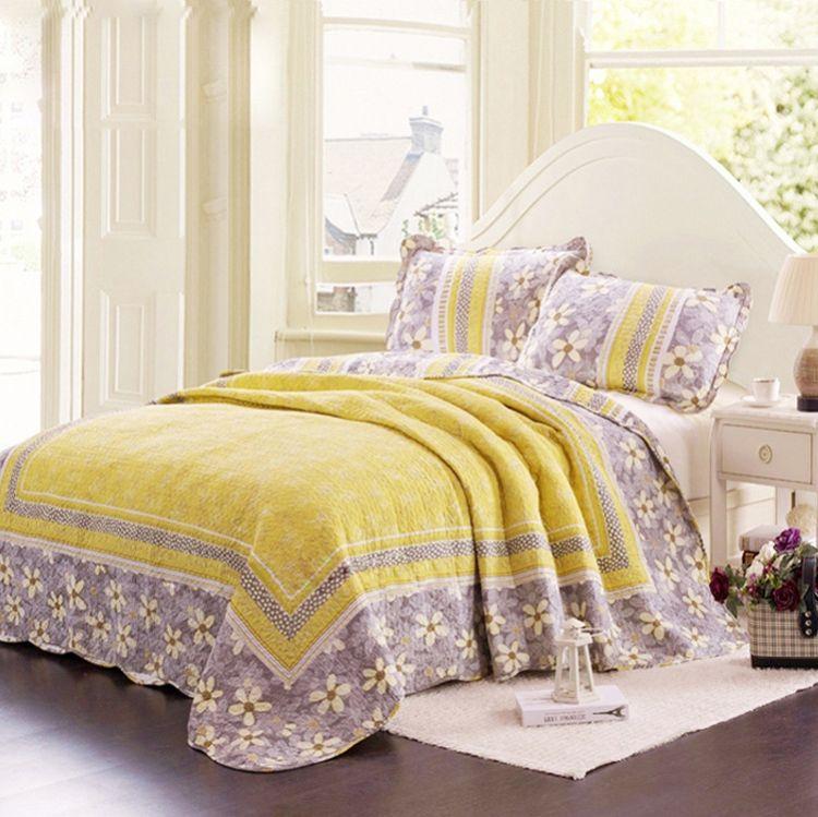 【莉莲娜】热销绗缝被纯棉床盖三件套特价 床上用品四件套