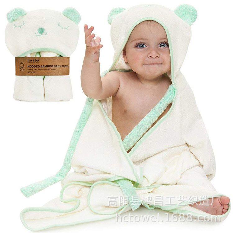跨境专供 亚马逊婴幼儿爆款竹纤维卡通狐狸抱被披风 连帽纯色包被