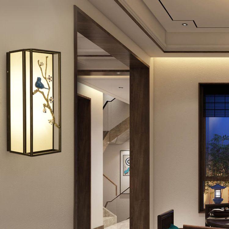 新中式壁灯卧室床头灯具中国风酒店壁灯过道灯铁艺LED中式壁灯