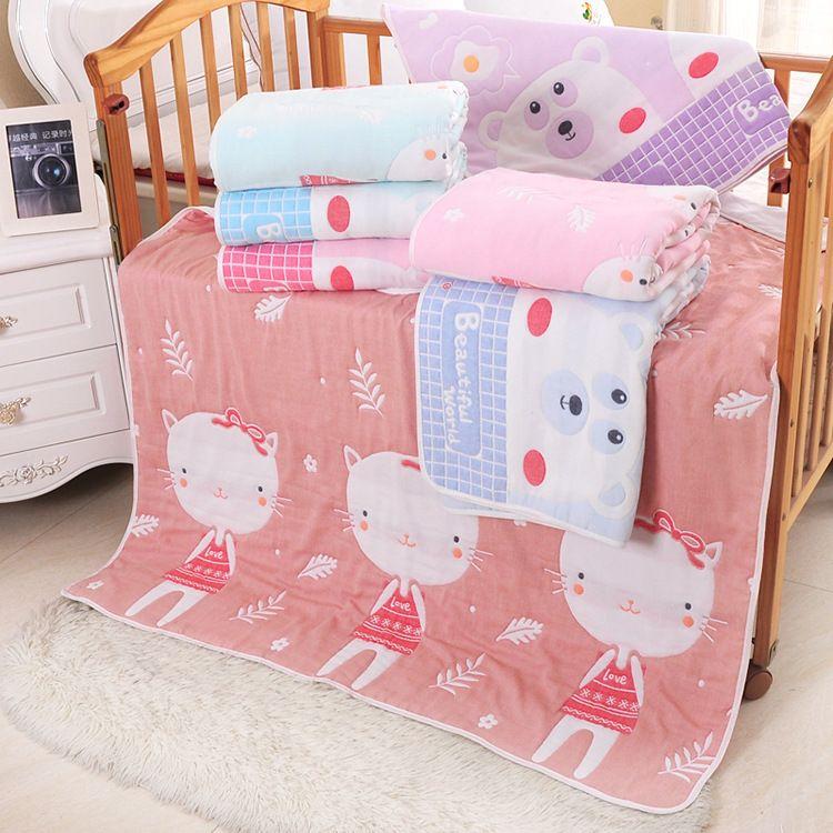 40股纱布童被  纯棉宝宝盖毯  婴幼儿儿童抱被  直销三只小猫童被