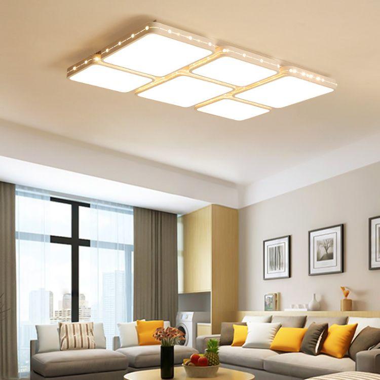 超薄led吸顶灯长方形客厅灯卧室灯铁艺吸顶灯简约现代家用批发灯