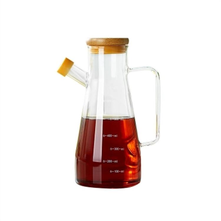 厂家批发高硼硅玻璃调味瓶厨房调料瓶竹盖酱油壶醋油瓶不锈钢油壶