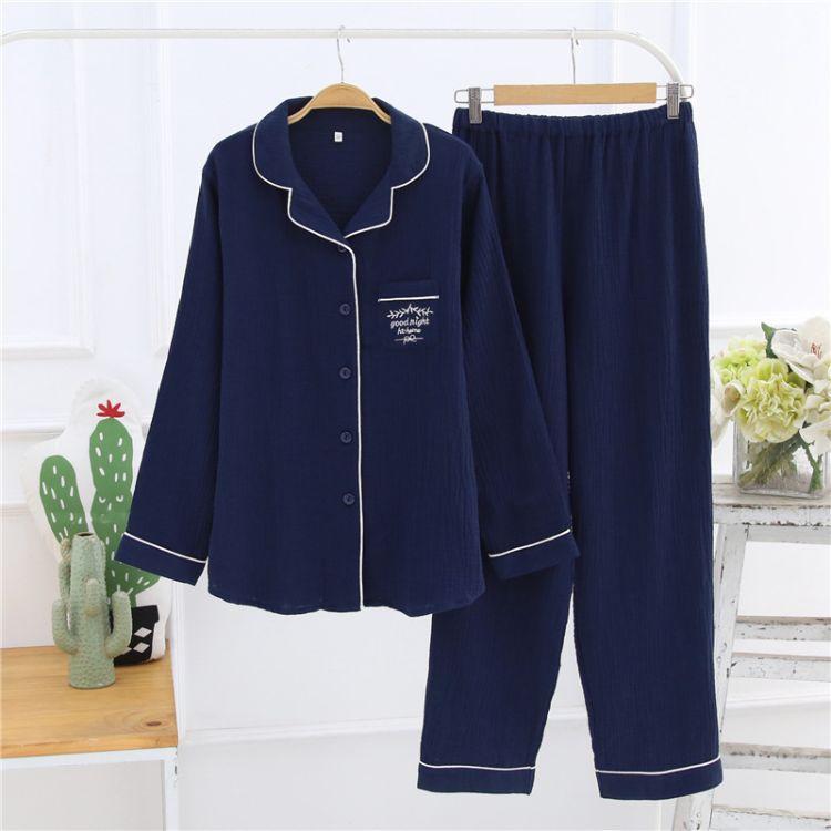 厂家直销长袖长裤简约女士全棉翻领睡衣19年新款绉布睡衣家居服