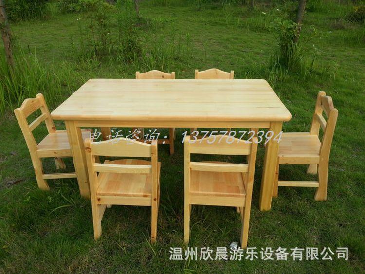 幼儿园桌椅木质 幼儿园实木桌子 幼儿园六人桌 全樟子松桌椅