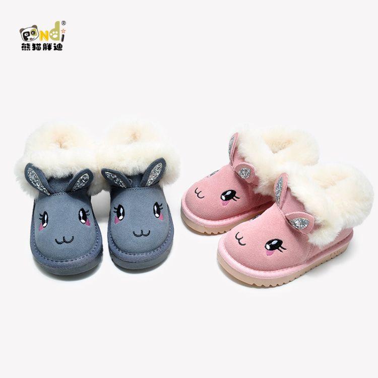 熊猫胖迪2018新款女童雪地靴磨砂皮羊毛女童加厚保暖靴萌兔童靴