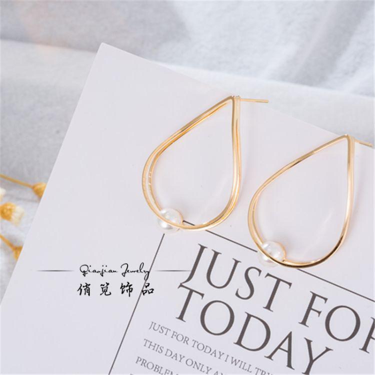 韓版創意女士耳環個性時尚水滴形珍珠耳環女士珍珠耳環廠家批發