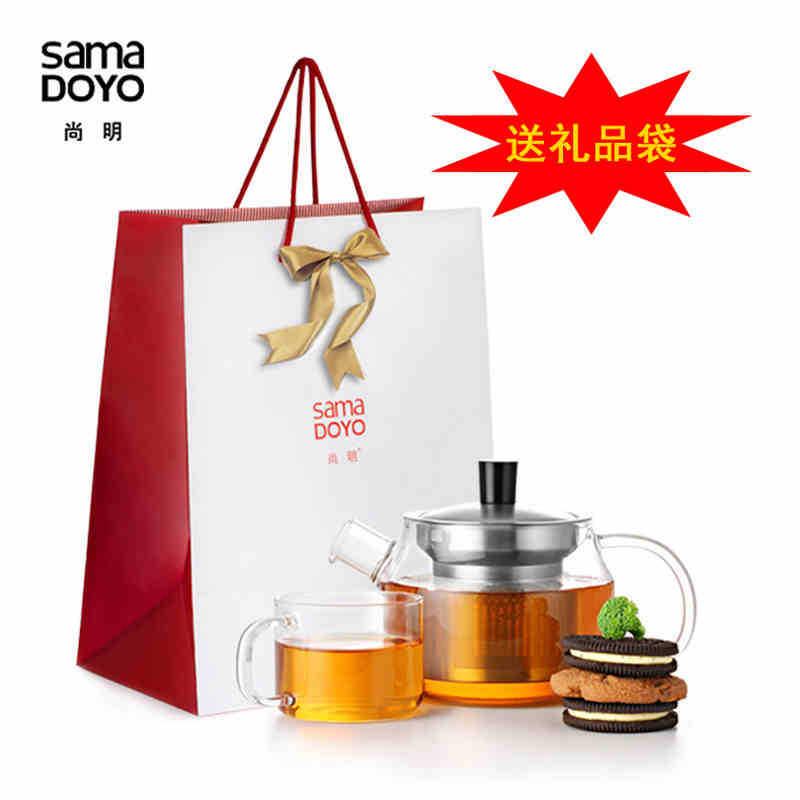 尚明玻璃茶壶不锈钢过滤水壶定制玻璃茶壶加热 茶具套装