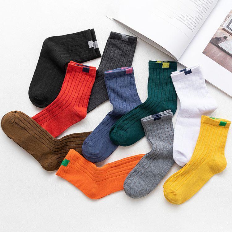 新品十色中筒袜仿布标双针秋冬袜子女 森系男女情侣袜长筒袜厂家