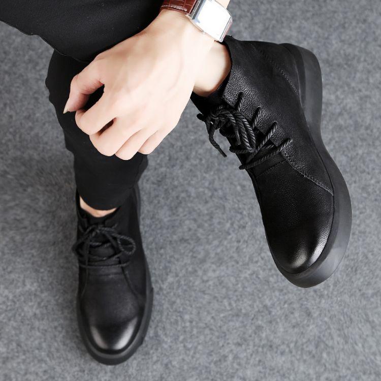 新款马丁靴男英伦头层软牛皮高帮短靴男加绒保暖棉鞋厚底高帮皮鞋