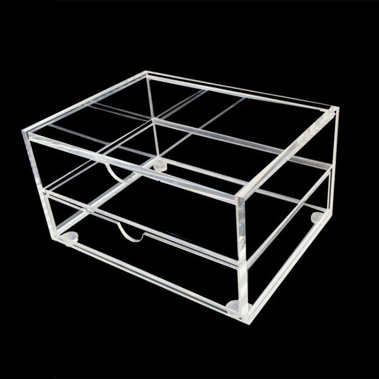 厂家定制双层亚克力盒子 透明翻盖亚克力散装食品盒 可加印LOGO