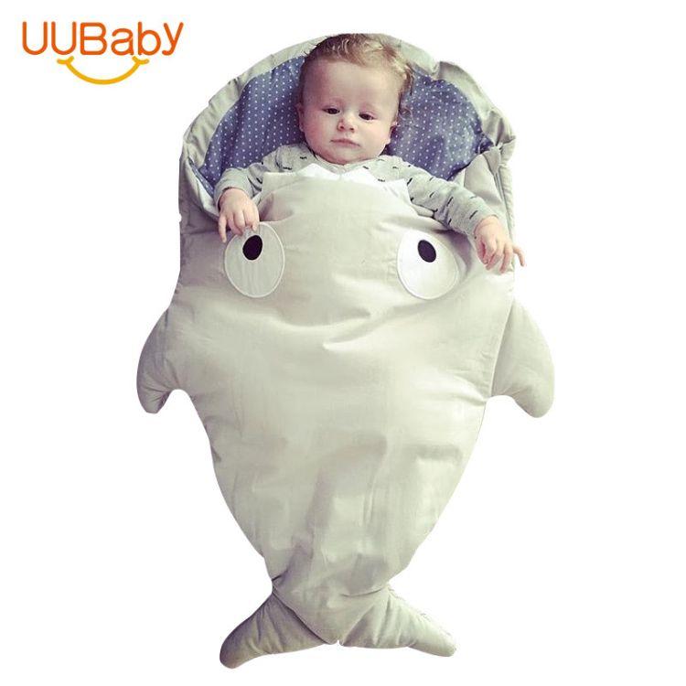 婴儿睡袋秋冬宝宝推车包被纯棉襁褓抱被幼小中儿童保暖鲨鱼防踢被