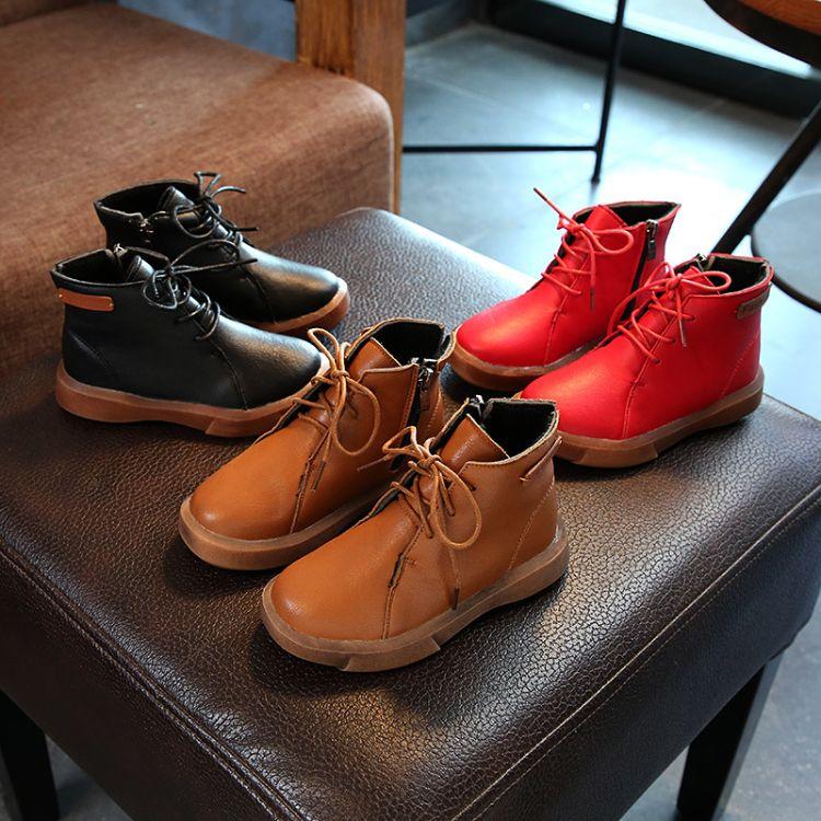 2017冬款儿童靴子时尚马丁靴男童女童复古加绒二棉靴皮靴短靴