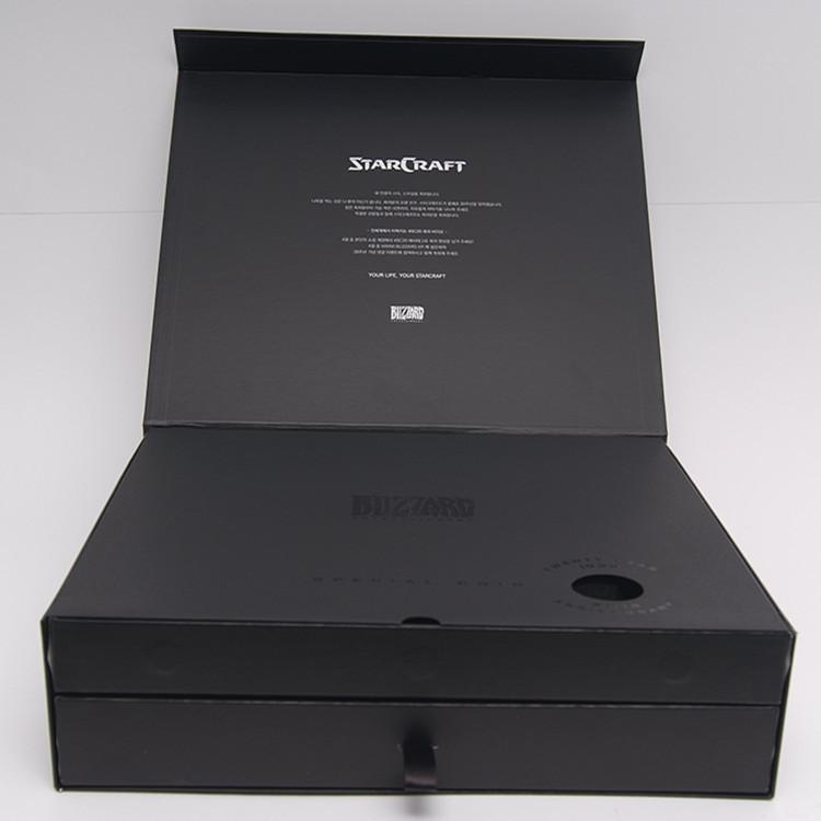 精装3C数码配件套装礼盒包装盒 左右翻盖黑色珍珠棉内衬硬盒