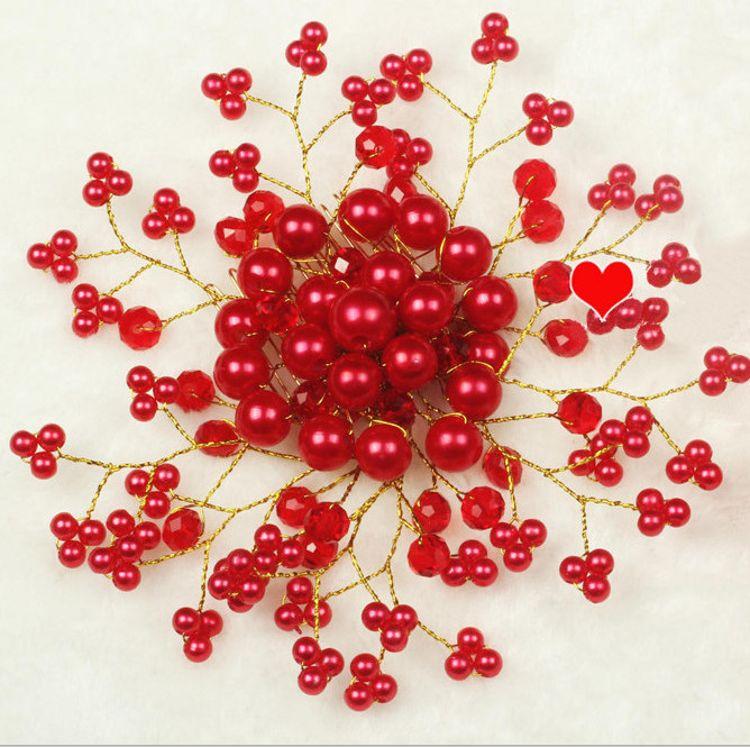 新娘盘发饰品韩式手工花朵珍珠结婚头饰发带配饰红色头花头饰首饰