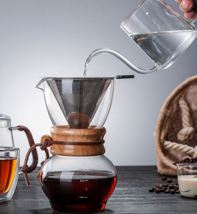 新款耐高温玻璃咖啡壶 分享壶 咖啡具 500ML玻璃手冲壶定制礼品