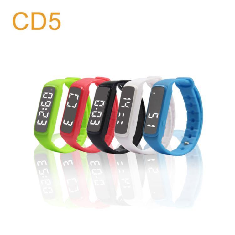 厂家直销 智能手环3D计步硅胶手环运动CD5多功能运动智能手表手环