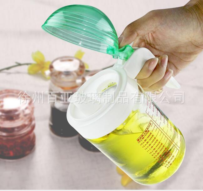 创意家用厨房用品大容量玻璃油壶580ML半自动开合密封防漏油瓶