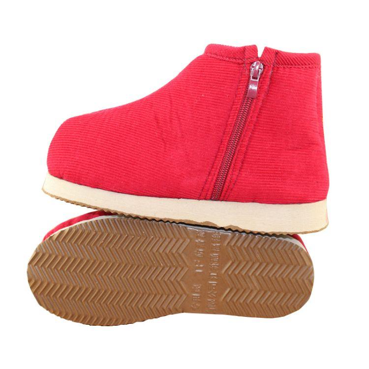 冬季手工棉鞋男女加绒防滑保暖月子鞋棉拖鞋居家中老年人灯芯绒料