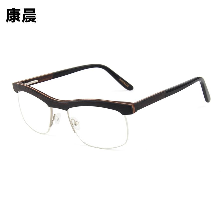 新款光学夹层木眼镜架 通用款时尚齐眉框配近视镜框架半框平光镜