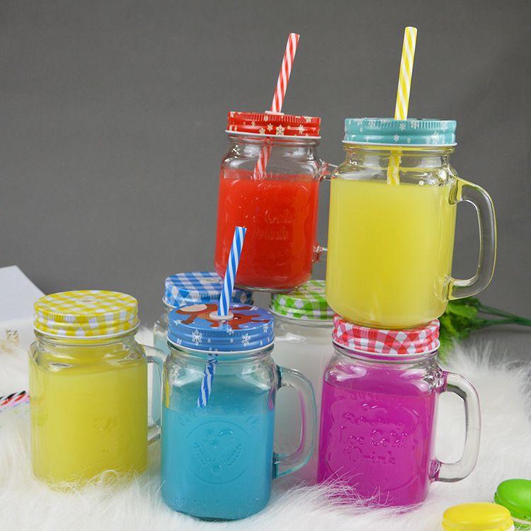 批发玻璃杯 透明玻璃把子杯 吸管公鸡杯400ml500ml玻璃瓶定制