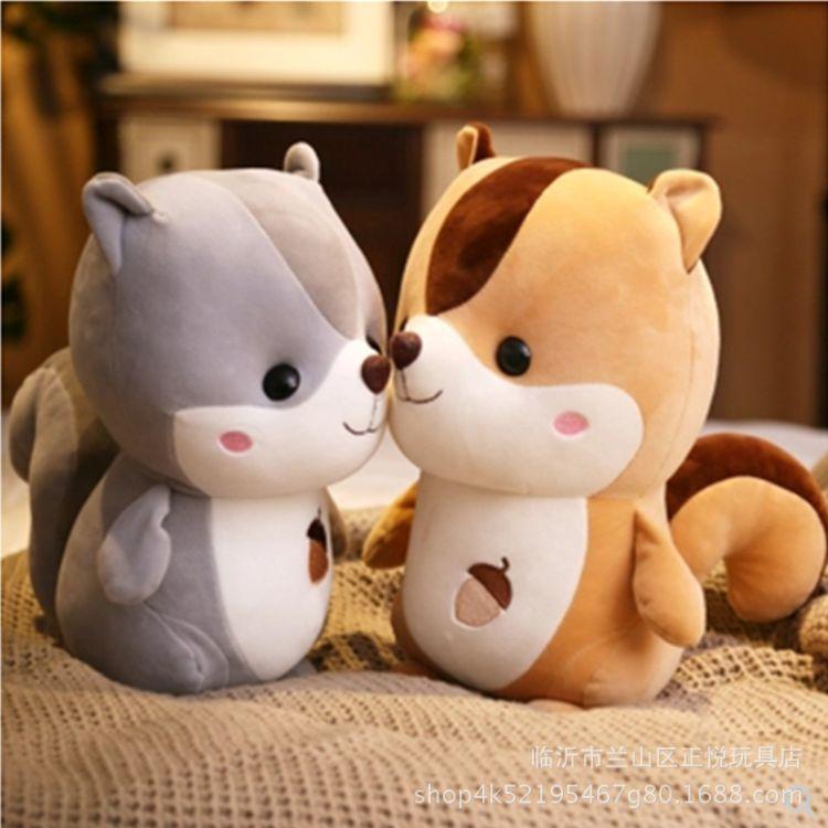 新款小浣熊羽绒棉毛绒玩具松鼠公仔抓娃娃机玩偶儿童玩具生日礼物