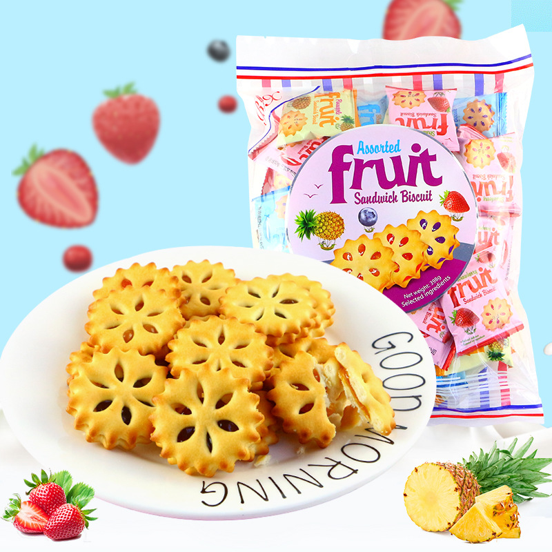香港博翔乐滋果酱夹心饼干398g 草莓菠萝蓝莓混合装茶点休闲零食
