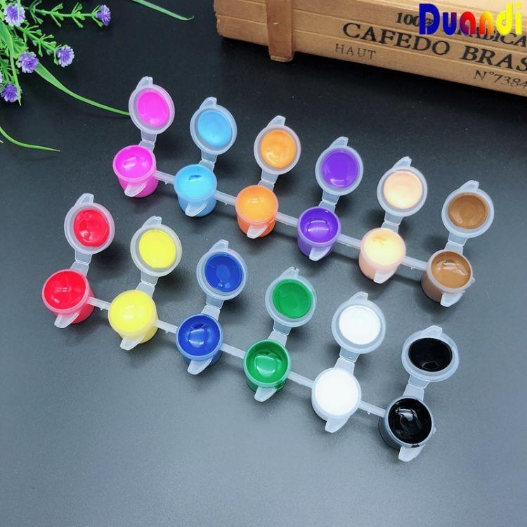 儿童丙烯颜料 水彩颜料 手指画颜料 数字DIY美术颜料3ml6连