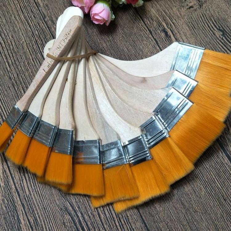 尼龙毛油画刷 尼龙板刷美术用品 丙烯画笔刷 毛刷子 油漆刷1-12#