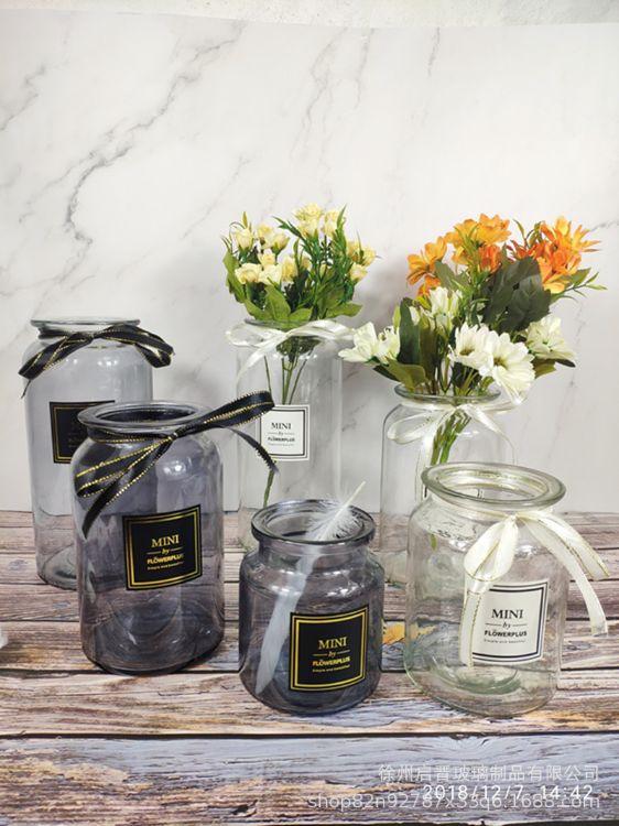 欧式简约花瓶玻璃透明家居酒店客厅摆件小清新插花装饰摆件干花瓶