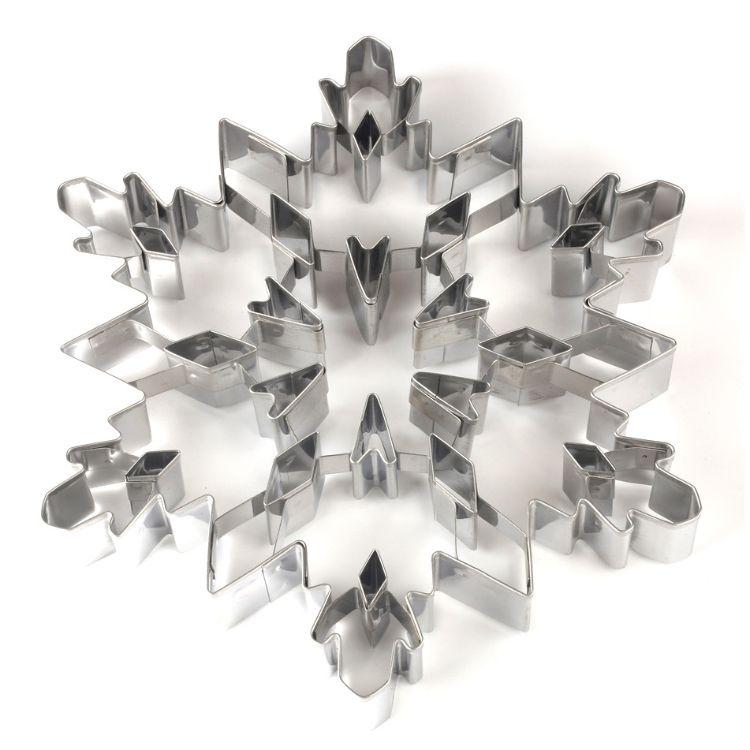 跨境热卖 不锈钢翻糖饼干模大号3D圣诞雪花立体曲奇饼模具