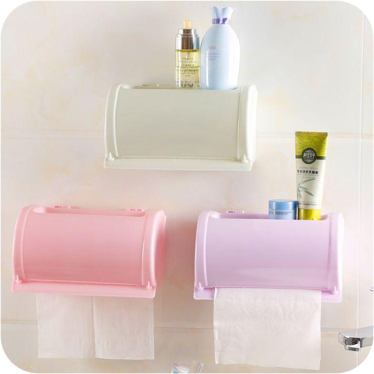 多功能可爱纸巾架卫生间防水纸巾盒浴室免打孔强力无痕贴卫生纸盒