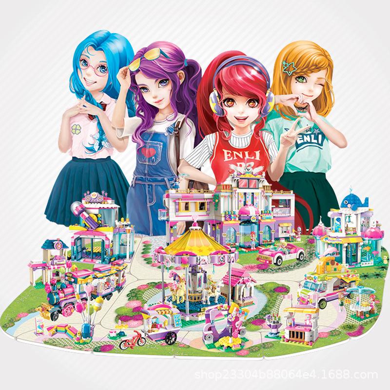 启蒙2017积木女孩儿童益智玩具城堡模型diy积木早教过家家玩具