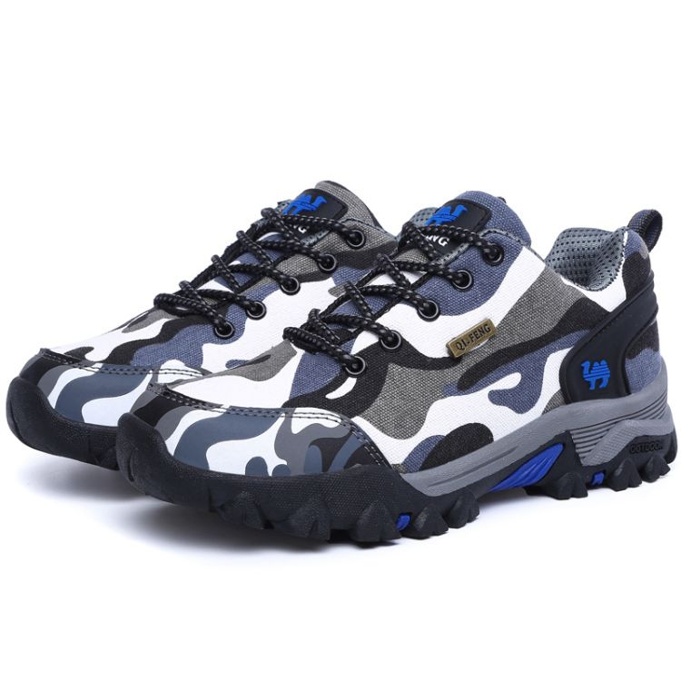 崎峰骆驼情侣款迷彩登山鞋户外运动徒步鞋低帮光面低帮休闲鞋批发