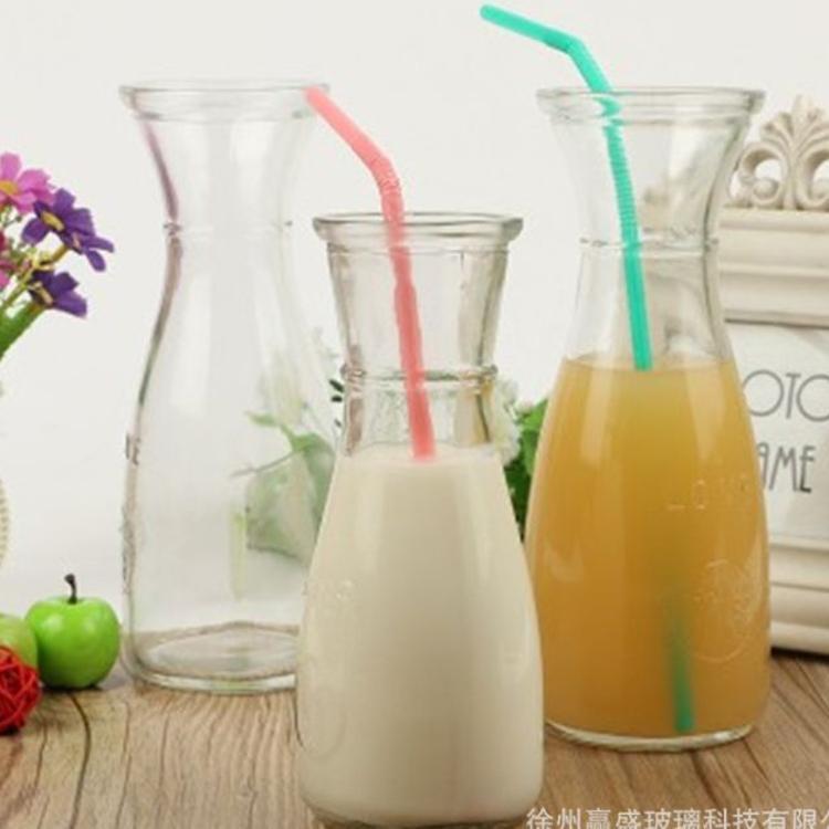 加厚透明玻璃吸管 500ml饮料玻璃瓶 冰桔花茶瓶 奶茶瓶 果汁瓶
