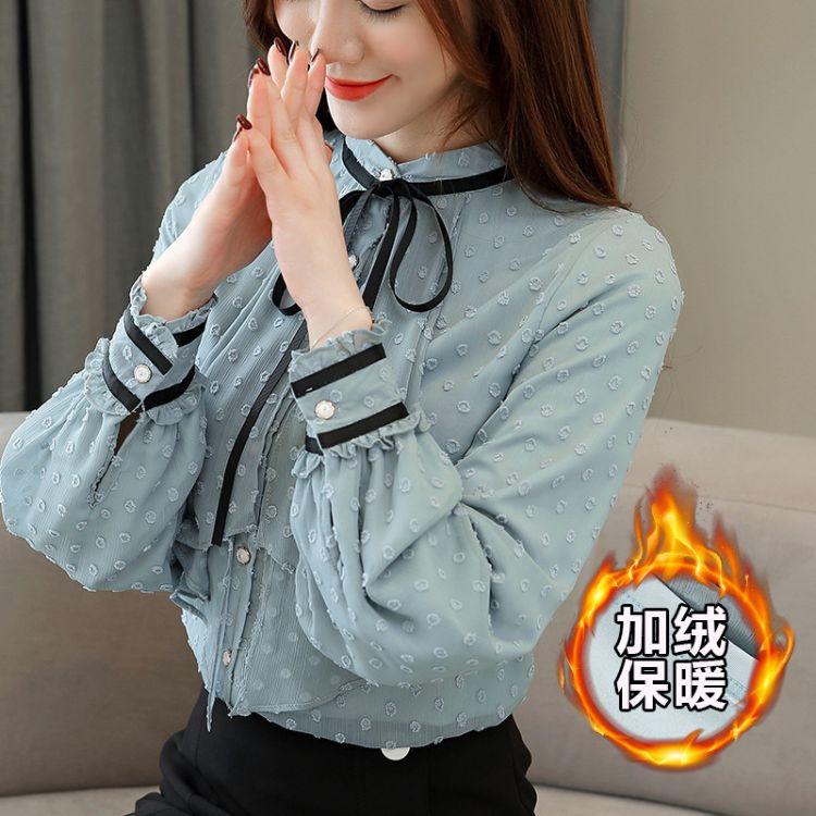 实拍加绒衬衫女长袖秋装2018新款蝴蝶结立领雪纺衫洋气小衫上衣女