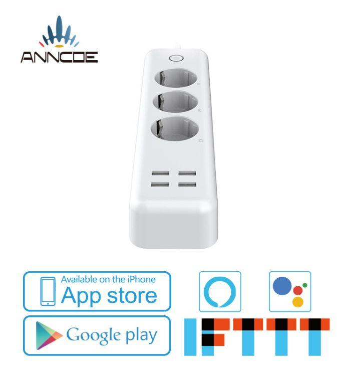 新款欧规排插 亚马逊alexa Gogle home语音控制wifi智能家居插座