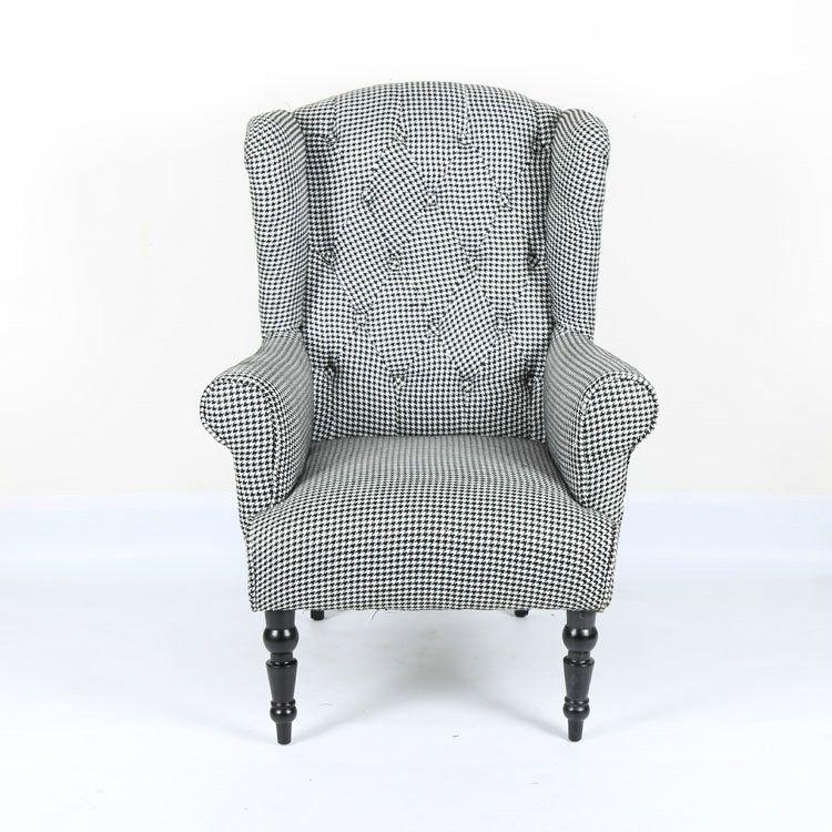 法式实木单人沙发 实木休闲沙发书房休闲单人椅 家居椅