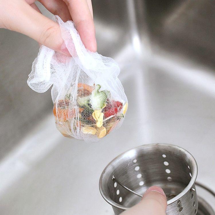 100只装一次性水切袋 水池过滤网垃圾袋 厨房水槽防堵塞过滤网袋