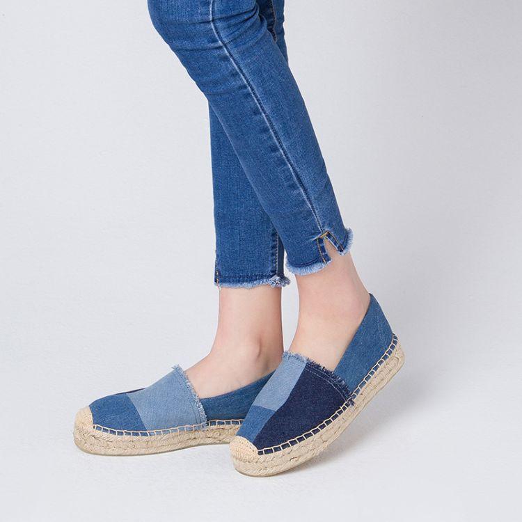 时尚拼色水洗牛仔布鞋 休闲厚底单鞋女 创意透气吸汗除臭女鞋批发