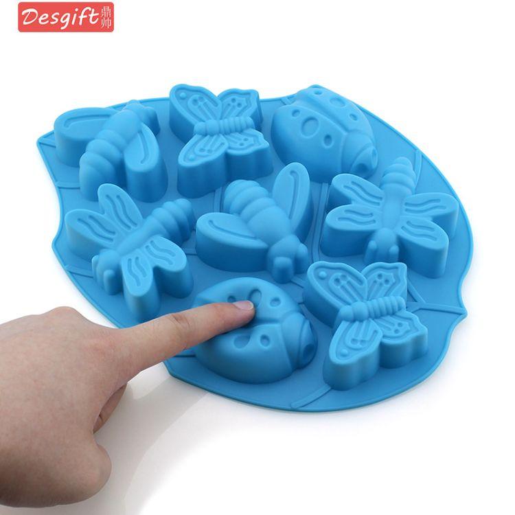 8连昆虫硅胶蛋糕模具翻糖烘焙模动物巧克力手工皂模具6连布丁模