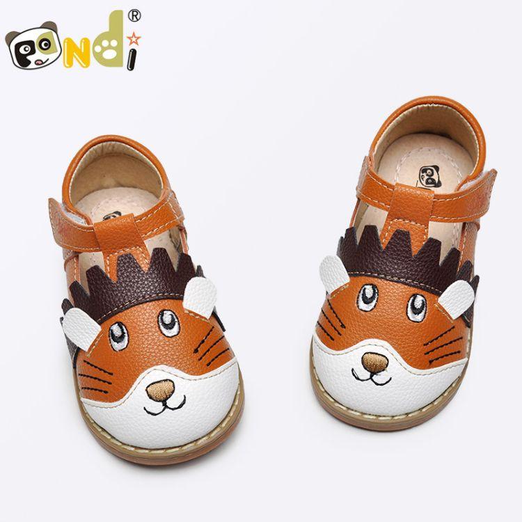 熊猫胖迪2017年秋季新款男童皮鞋圆头儿童单鞋包头卡通中小童鞋