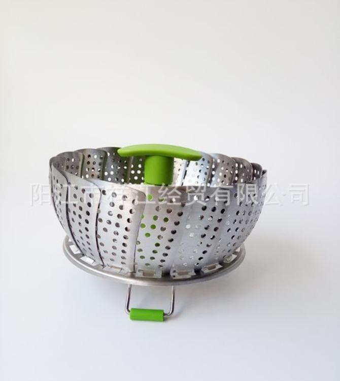 9寸不锈钢伸缩折叠蒸笼 莲花水果盘蒸锅蒸包器沥水 蒸格蒸架蒸盘